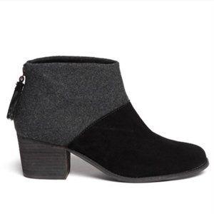 Toms Leila Wool Suede Block Heel Ankle Bootie 8.5